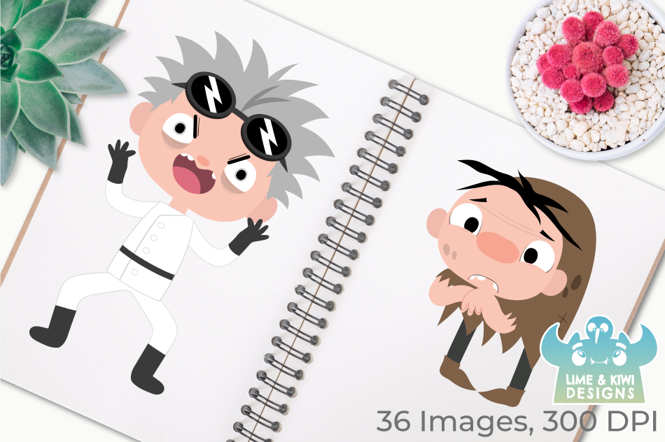 Mad Scientist Lab Clipart, Instant Download Vector Art example image 3