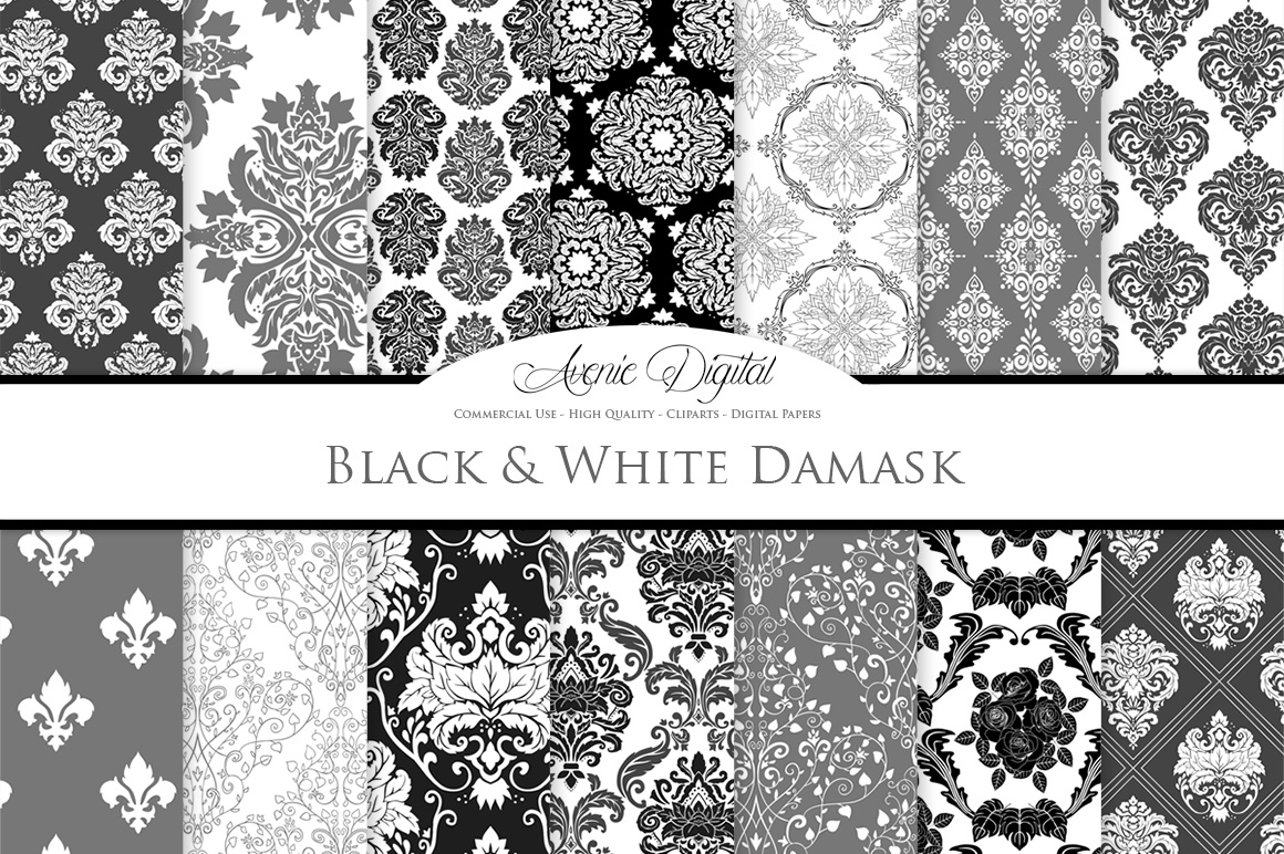 Black and White Damask Patterns - Seamless Digital Papers example image 1