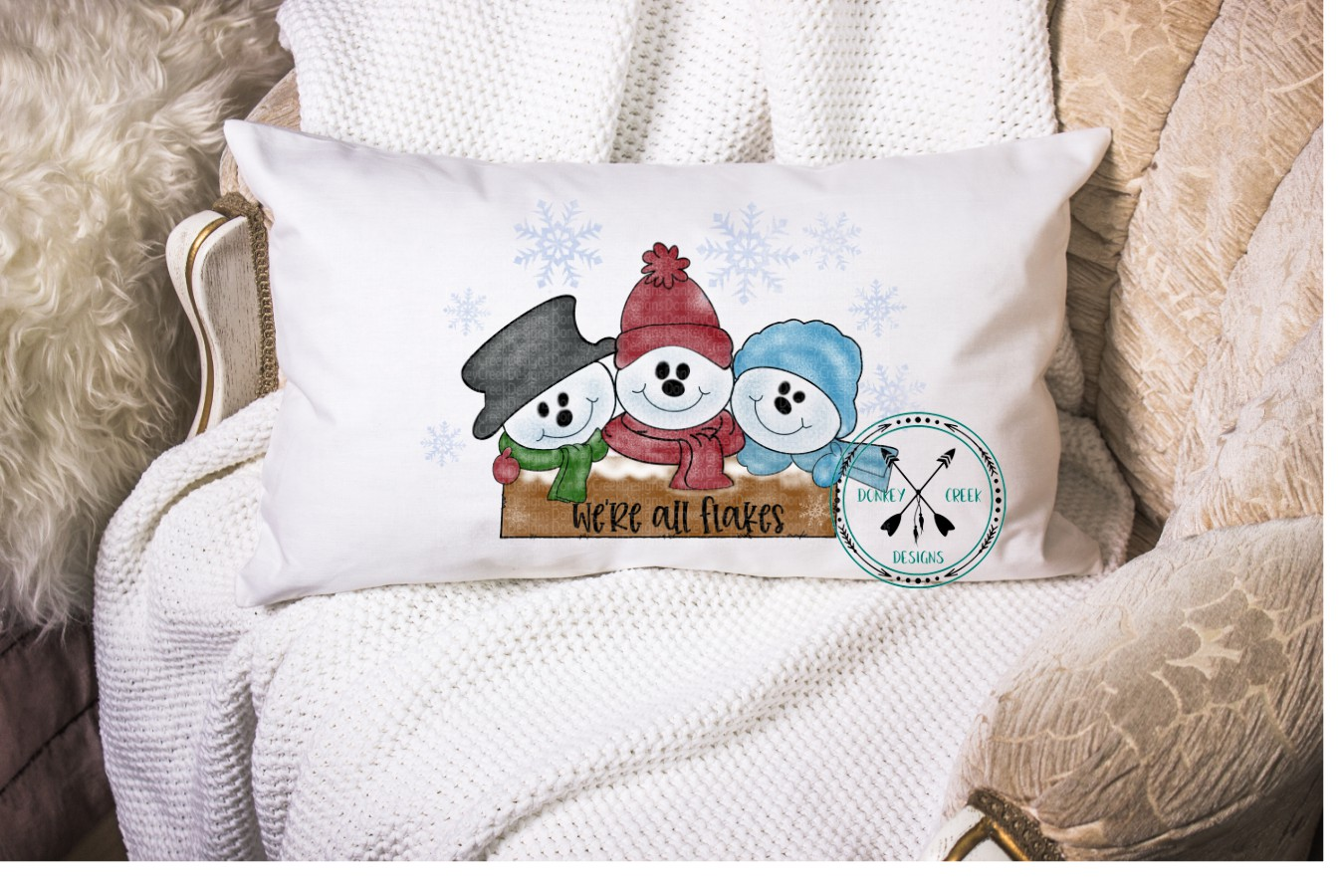 Hand Drawn Snowman Trio Sublimation Design example image 2