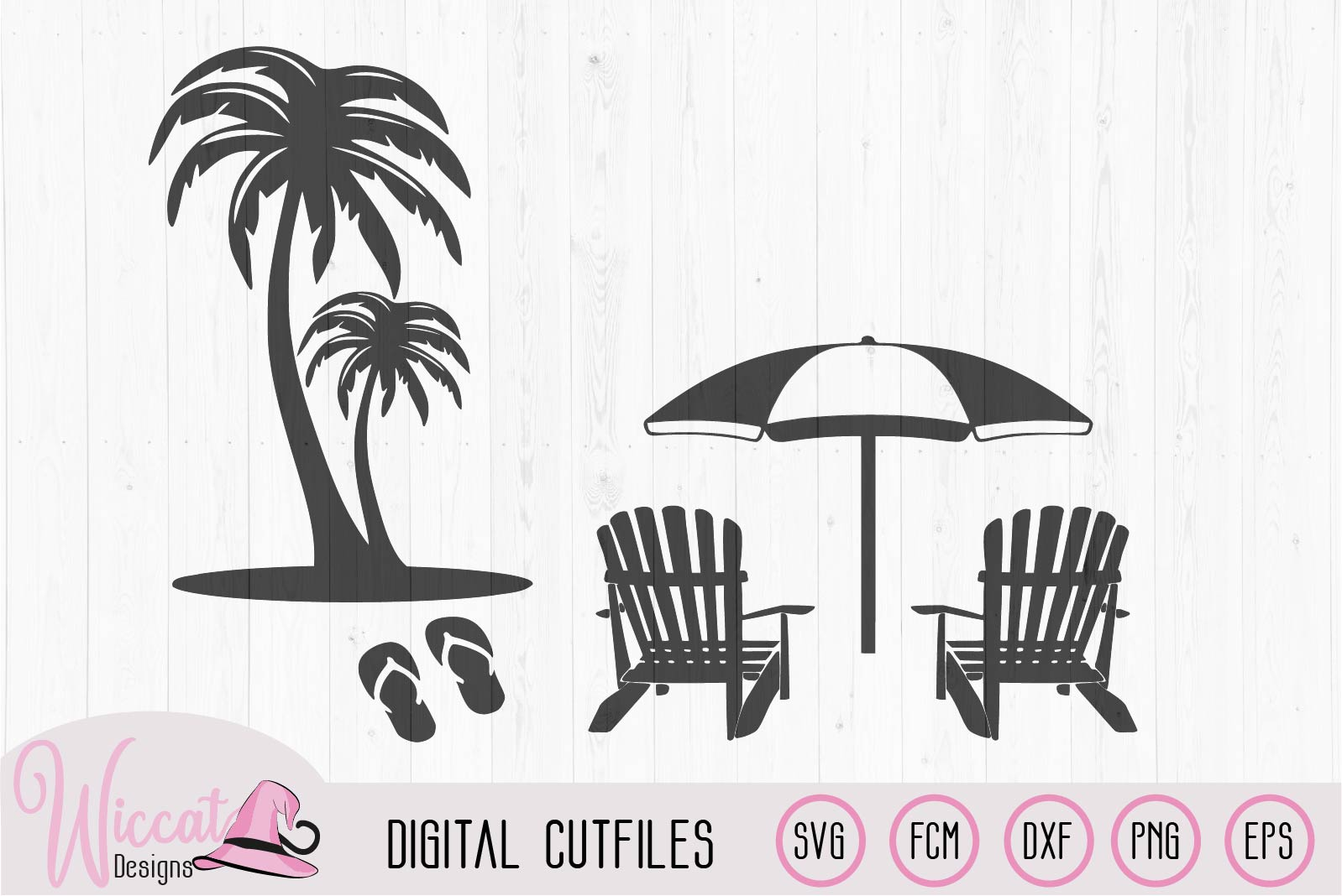 Beach scene with palm trees, flip flops and chairs example image 2