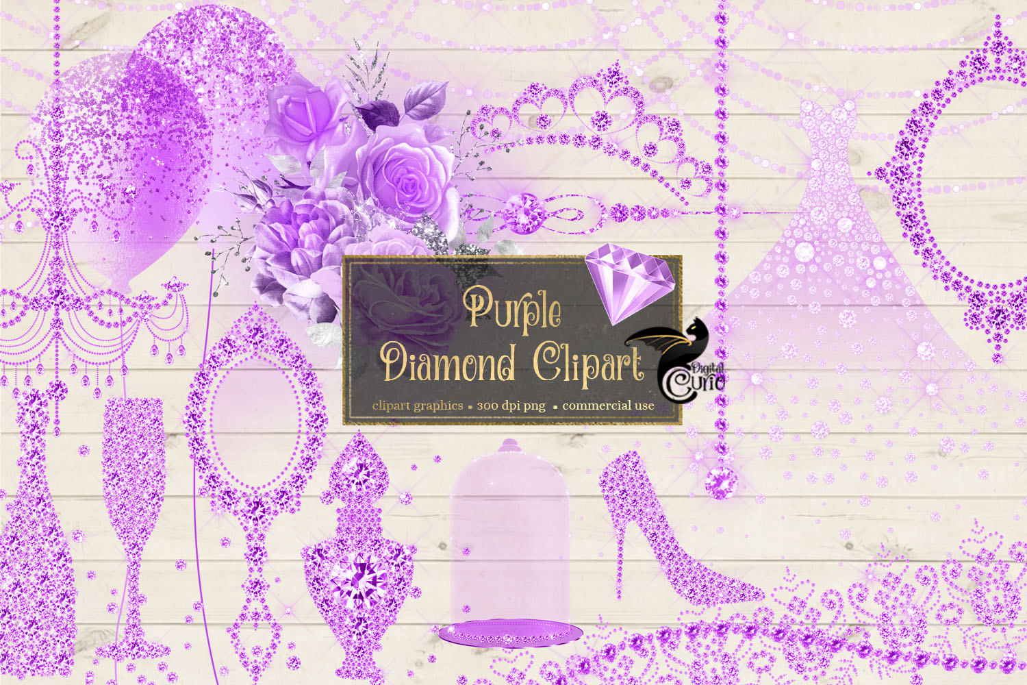 Purple Diamond Clipart example image 2