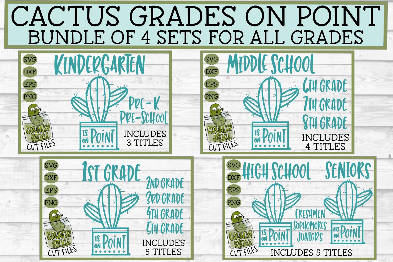 SVG Bundle School Cactus Grades on Point - 4 piece set example image 1