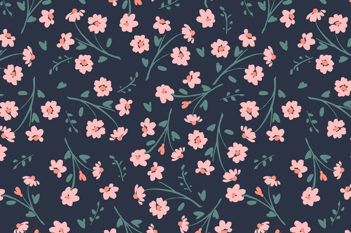 Cute flowers. 10 seamless patterns. example image 11