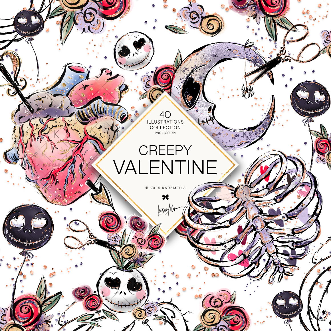 Creepy Valentine's Day Clipart example image 3
