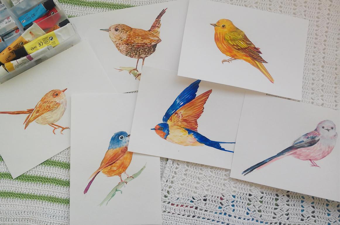 30 little birds.watercolor example image 2