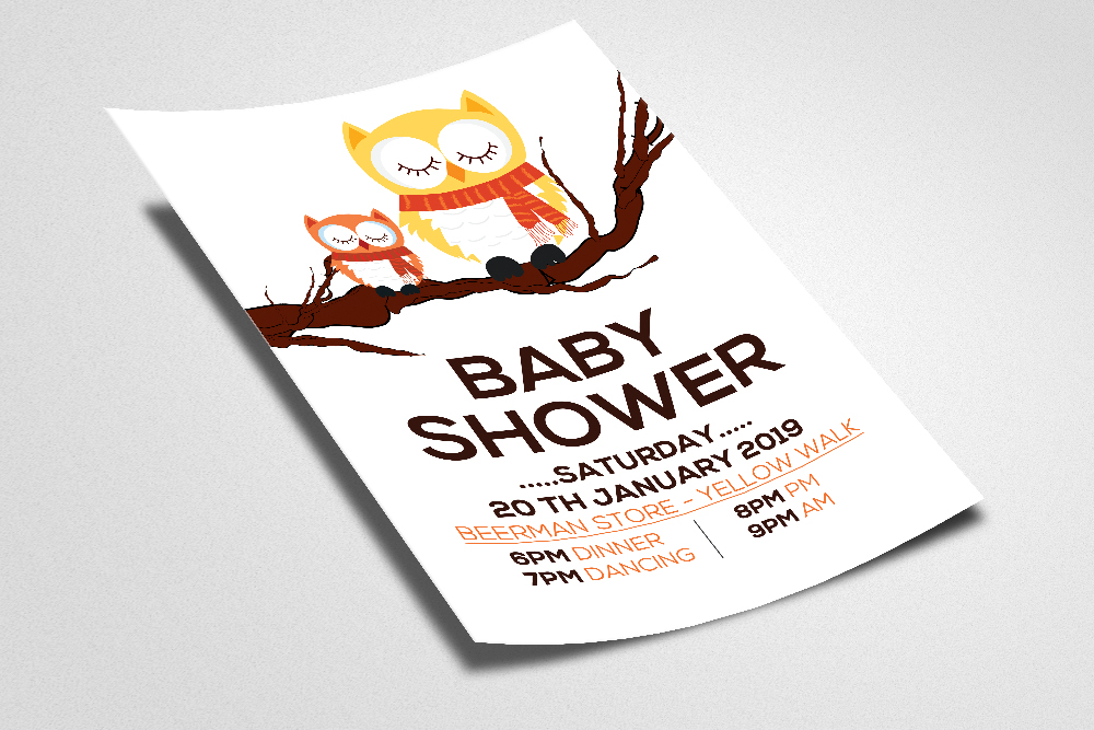 Baby Shower Flyer Template example image 2