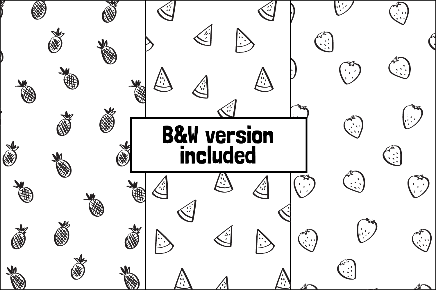 6 Seamless Handdrawn Summer Fruits Pattern Backgrounds example image 2