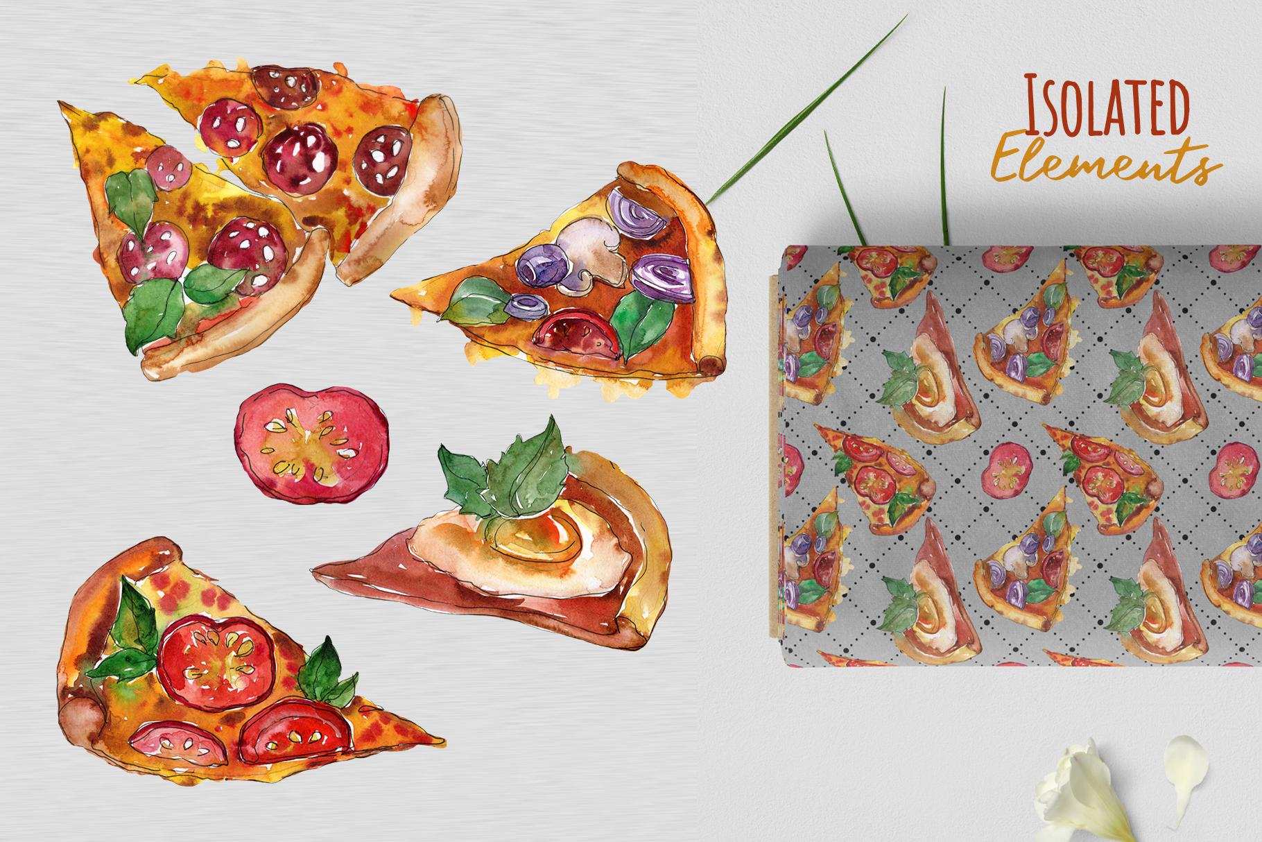 Hawaiian Pizza Watercolor png example image 7