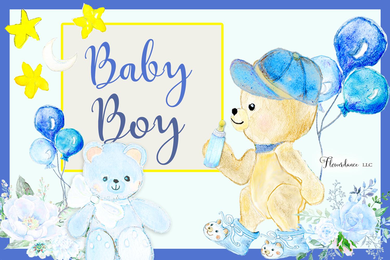 Watercolor Baby Boy Clipart example image 4