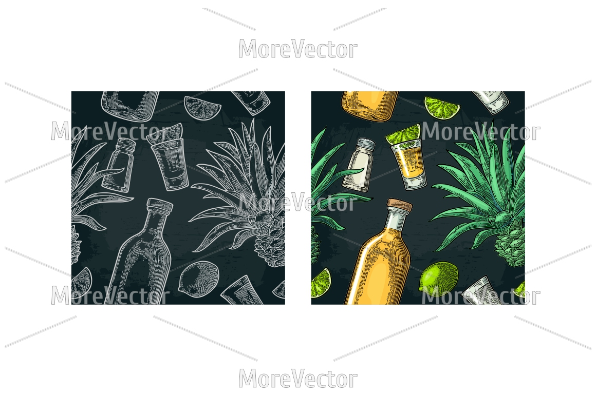 Illustration, pattern and posters Tequila with engraving.  example image 9