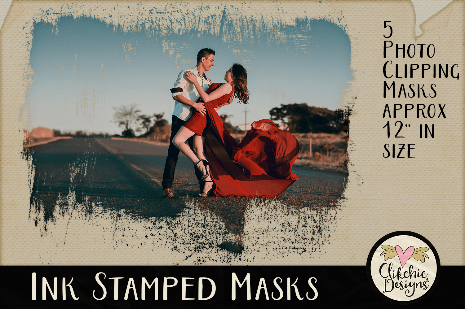 Ink Stamped Photoshop Clipping Masks & Tutorial example image 1