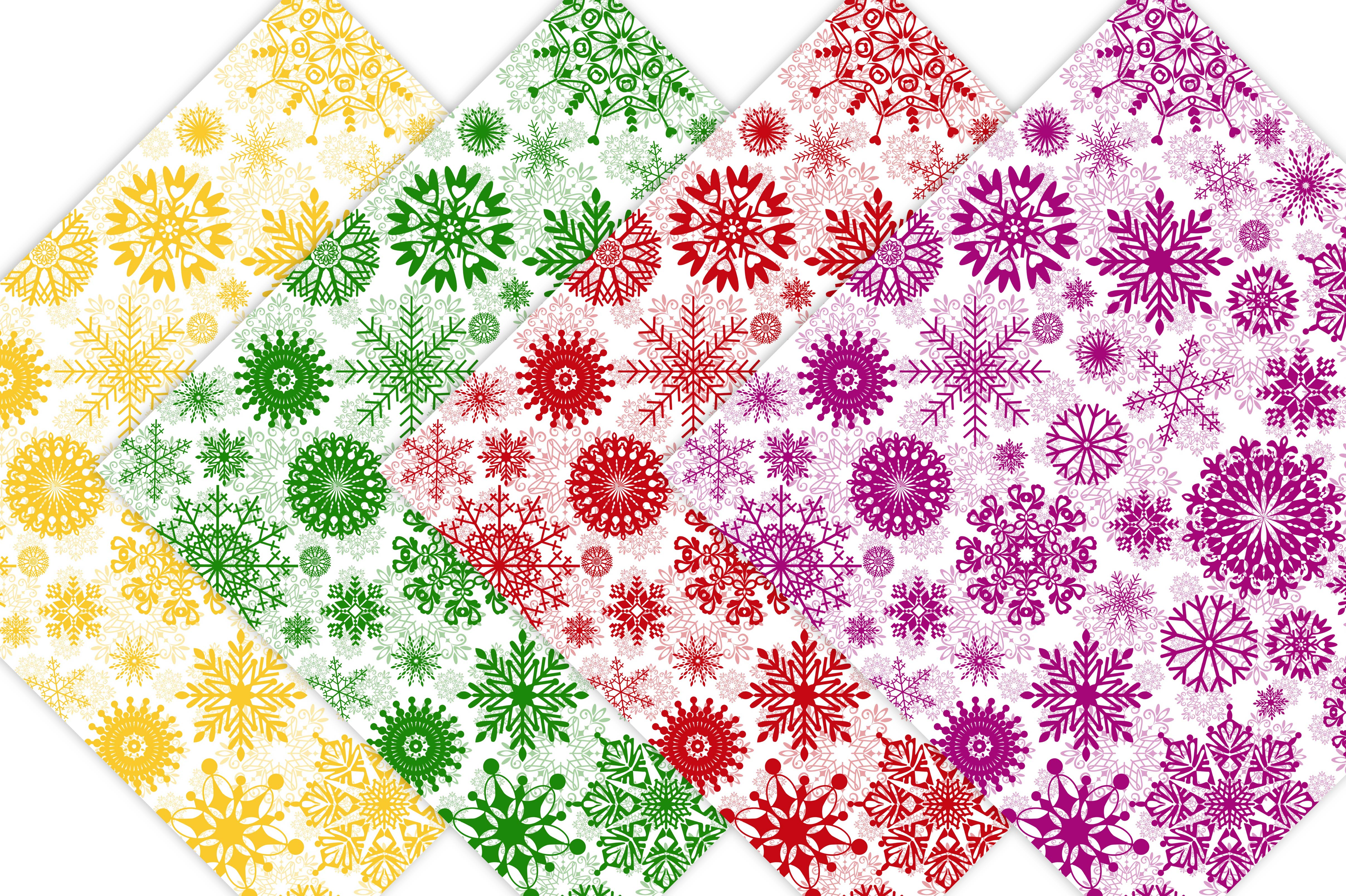 Winter Digital Paper Pack - Snowflake Patterns example image 3