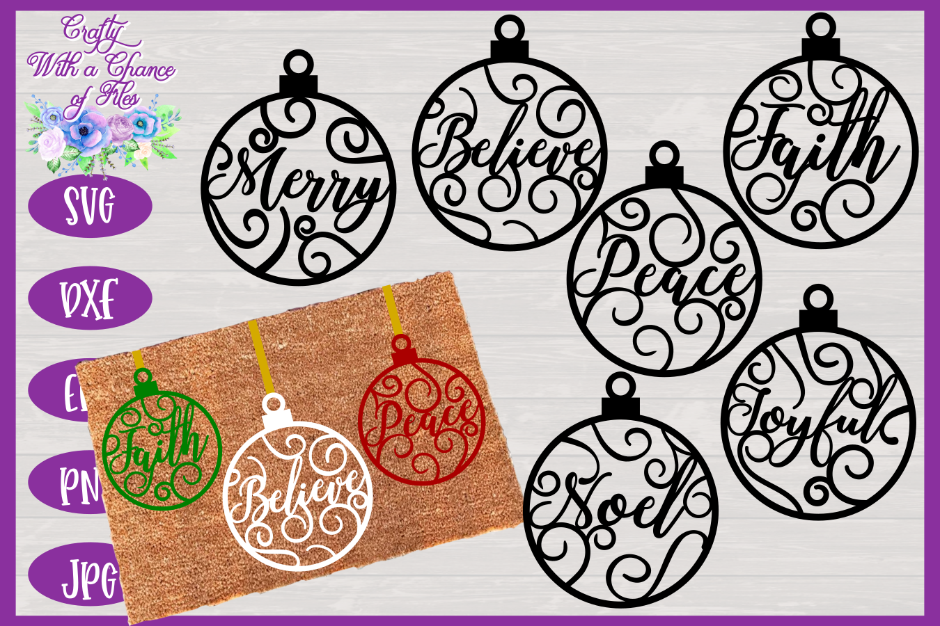 Christmas Word Ornaments SVG | Laser Cut Baubles SVG example image 1