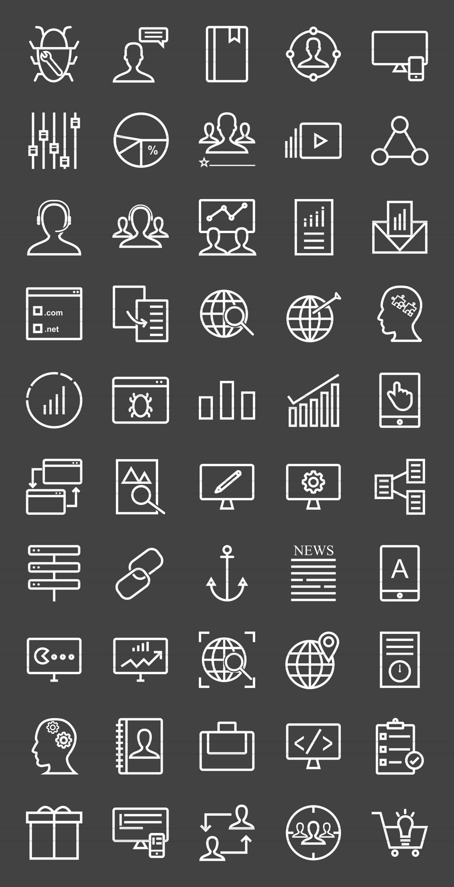 50 SEO & Development Line Inverted Icons example image 2