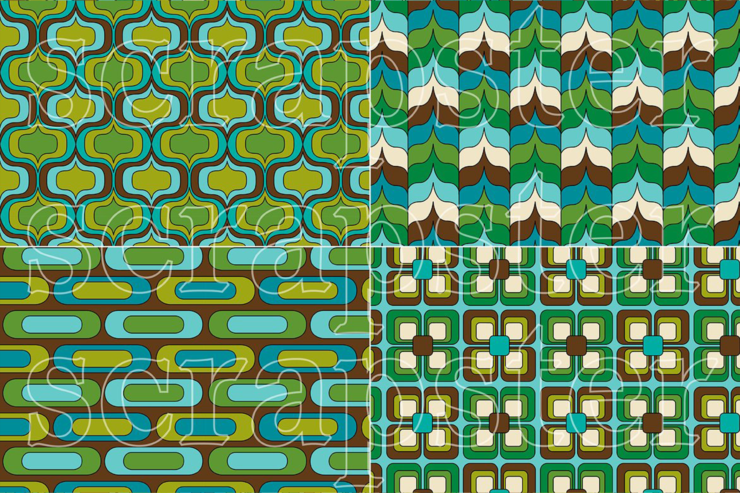 Mod Blue & Green Seamless Patterns example image 2
