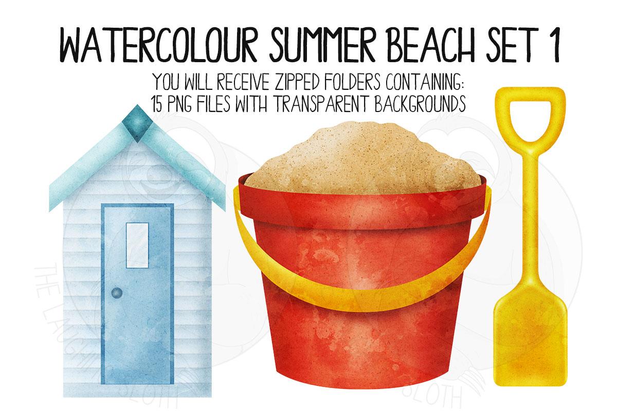 Watercolor Summer Beach Clip Art Set 1 example image 2
