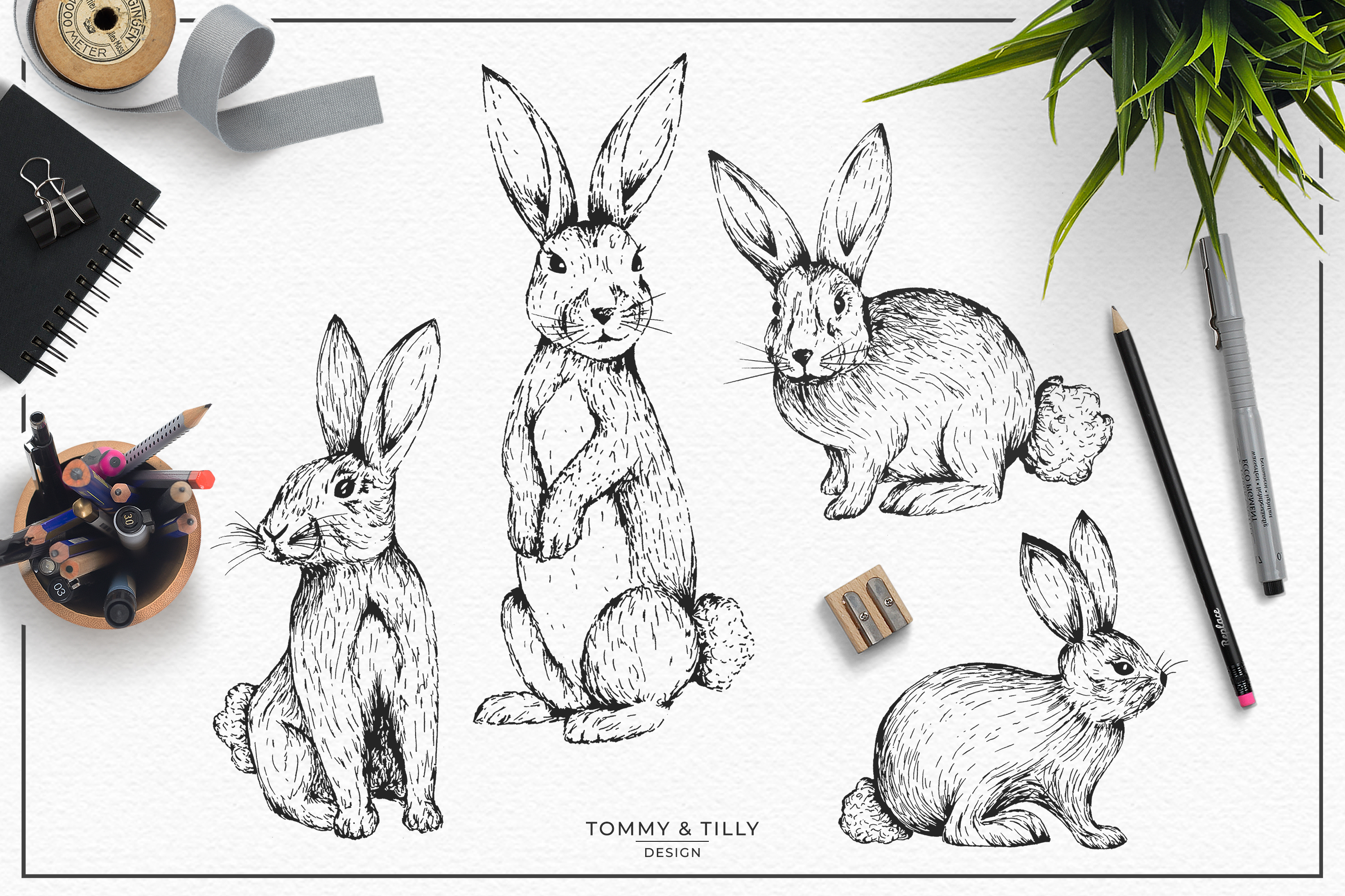 Hand Drawn Rabbit Bundle | High Quality Clipart | Png | example image 3