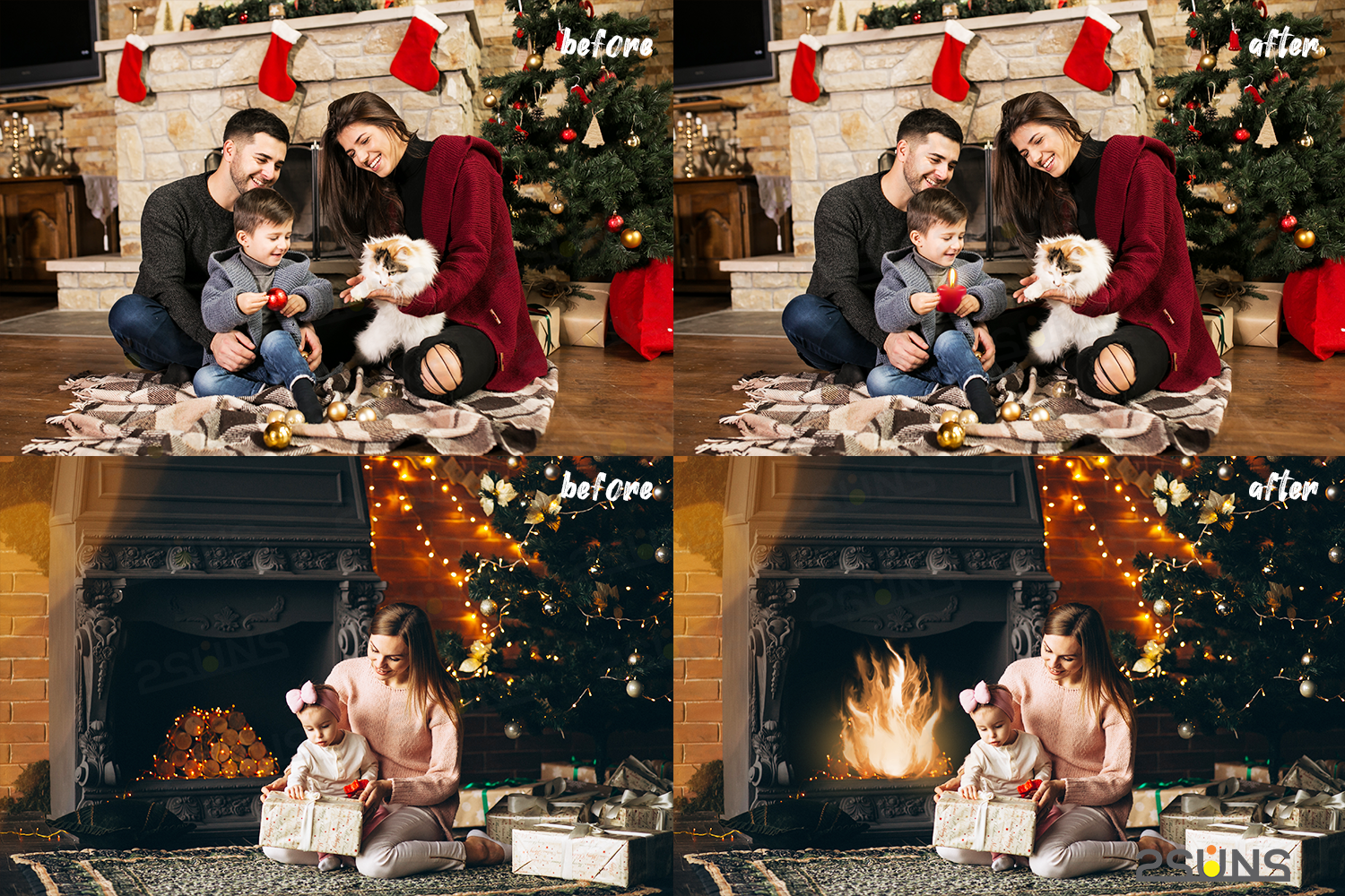 Christmas overlays Candle flame png Fireplace overlays example image 3