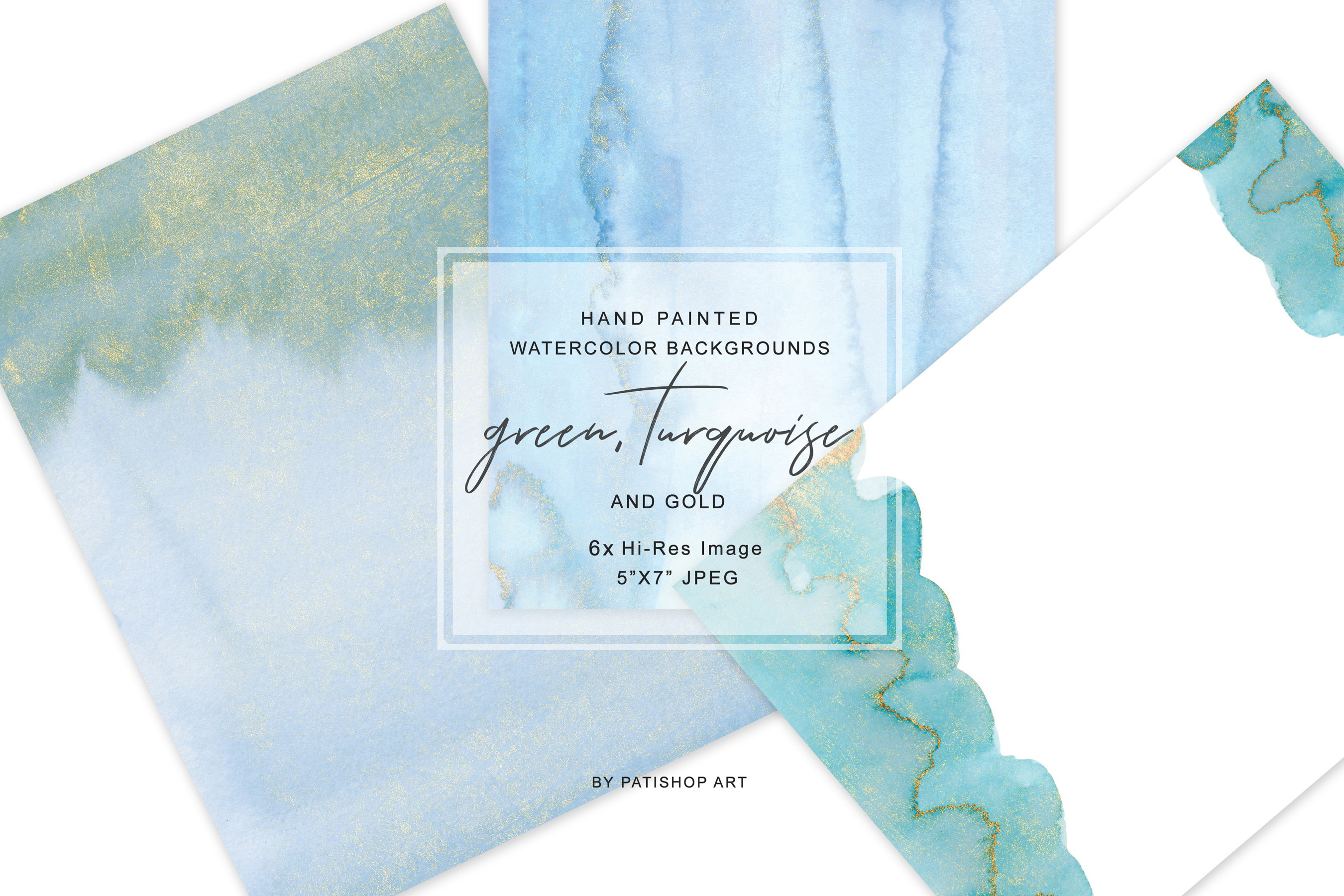 Watercolor Glittered Green & Turquoise Background 5x7 example image 3