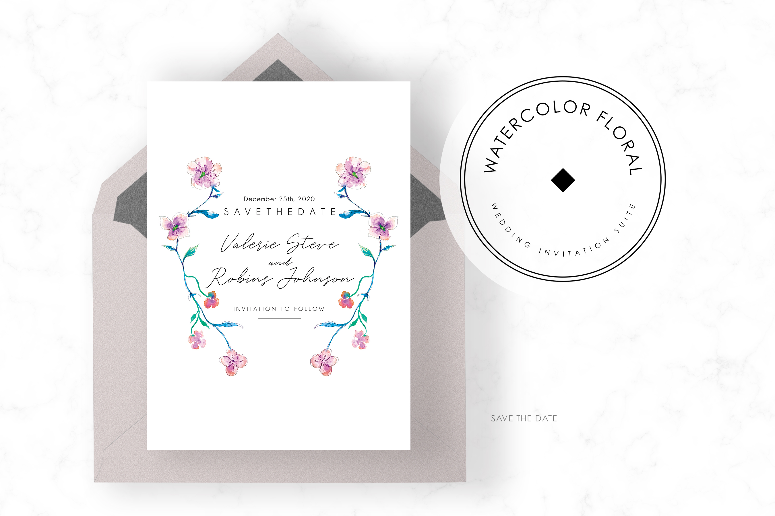 Watercolor Floral Invitation Suite example image 4