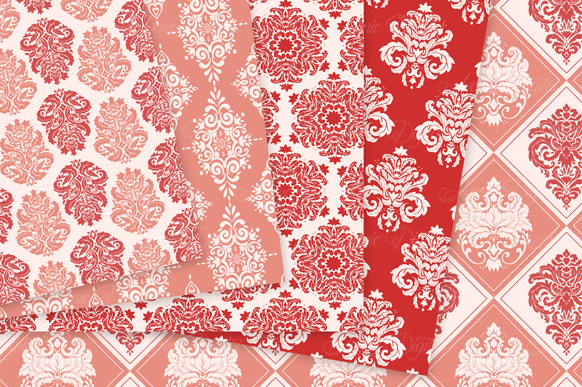 28 Red Damask Patterns - Seamless Digital Papers Bundle example image 4