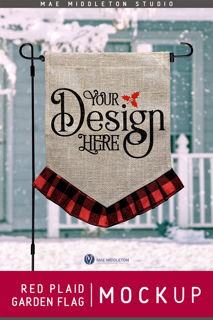 Garden Flag mock up for winter, Christmas, Red Plaid example image 2