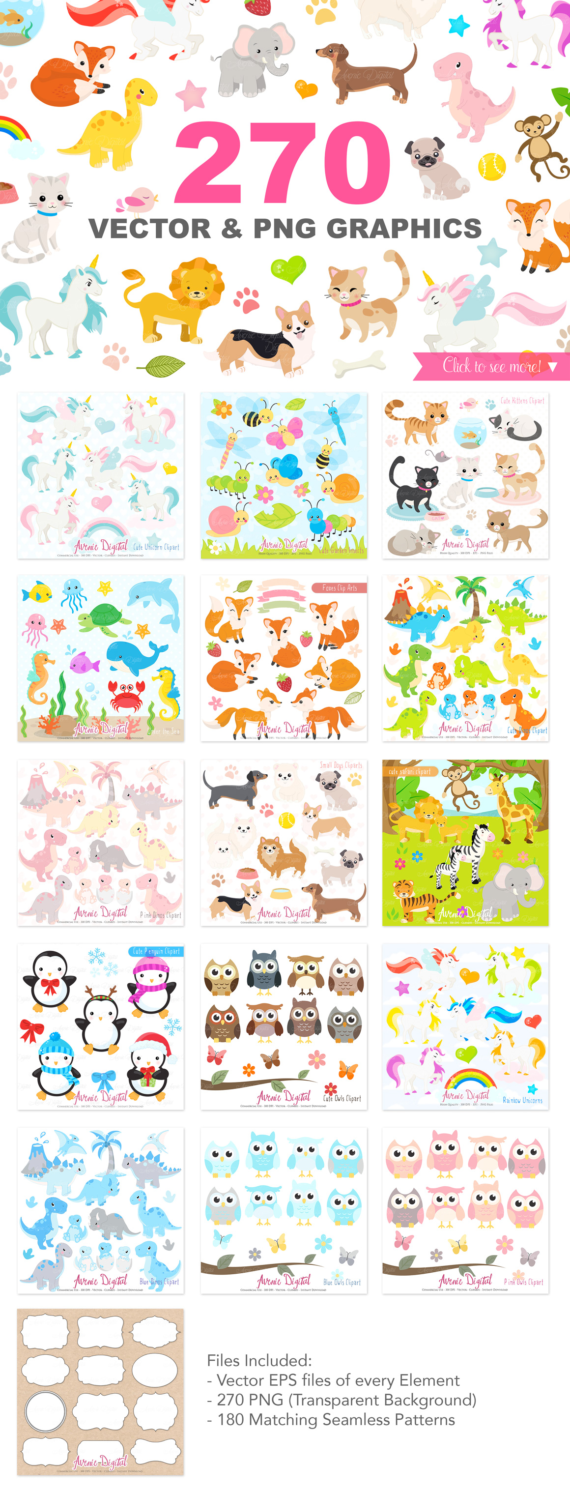 Cute Baby Animals Clip art Graphics and Digital Papers Patterns Bundle example image 2