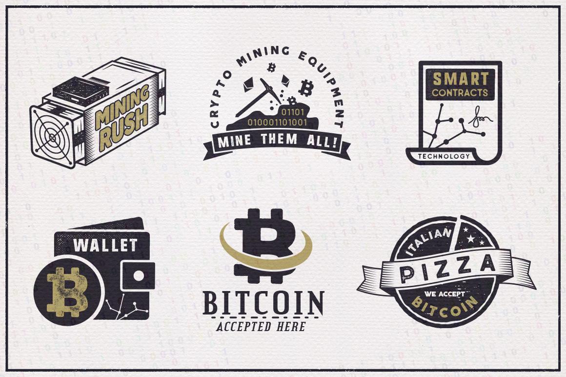 Bitcoin & Blockchain Vintage Emblems / SVG / EPS Files example image 3