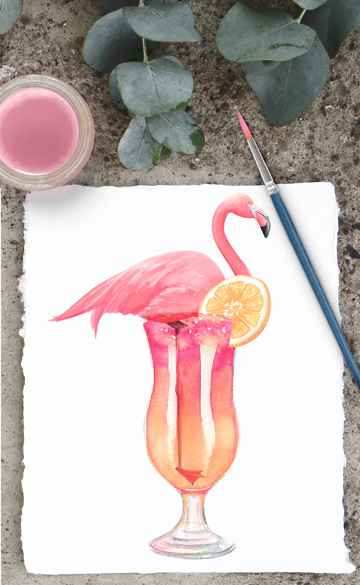 Watercolor flamingos and retro cars summer clipartS example image 4