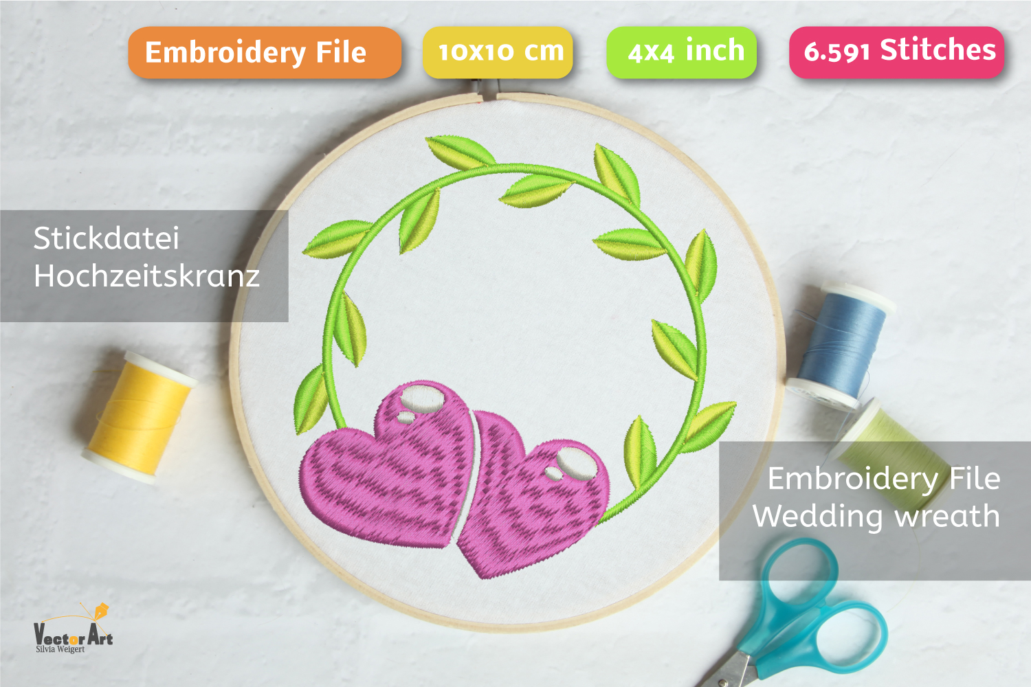 Wedding Wreath with Hearts - Embroidery File - 4x4 inch example image 1