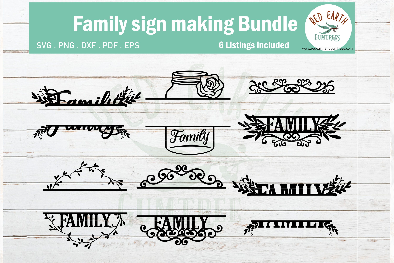 Family sign making design, Family monogram frame SVG,PNG,DXF example image 1