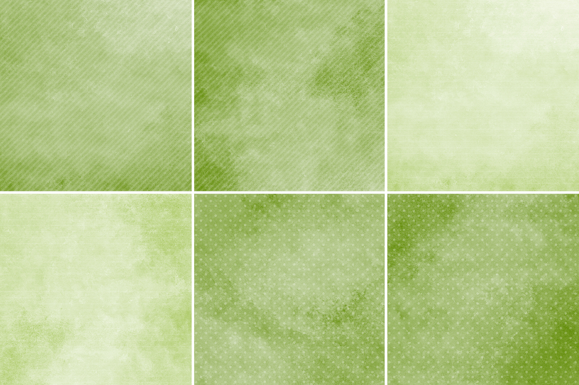 Watercolor Texture Backgrounds With Dots & Stripes - Green example image 3