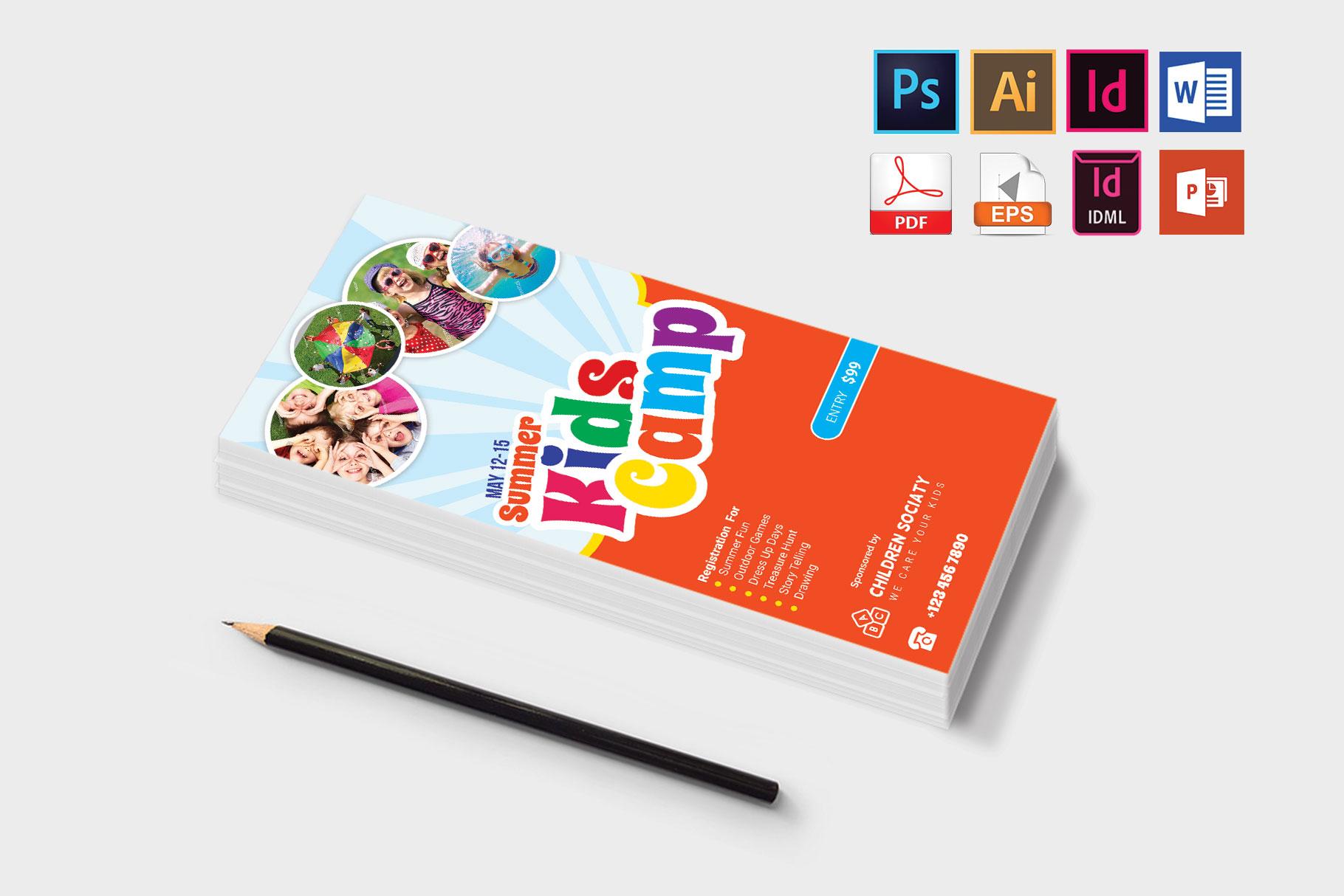 Rack Card | Kids Summer Camp DL Flyer Vol-2 example image 3