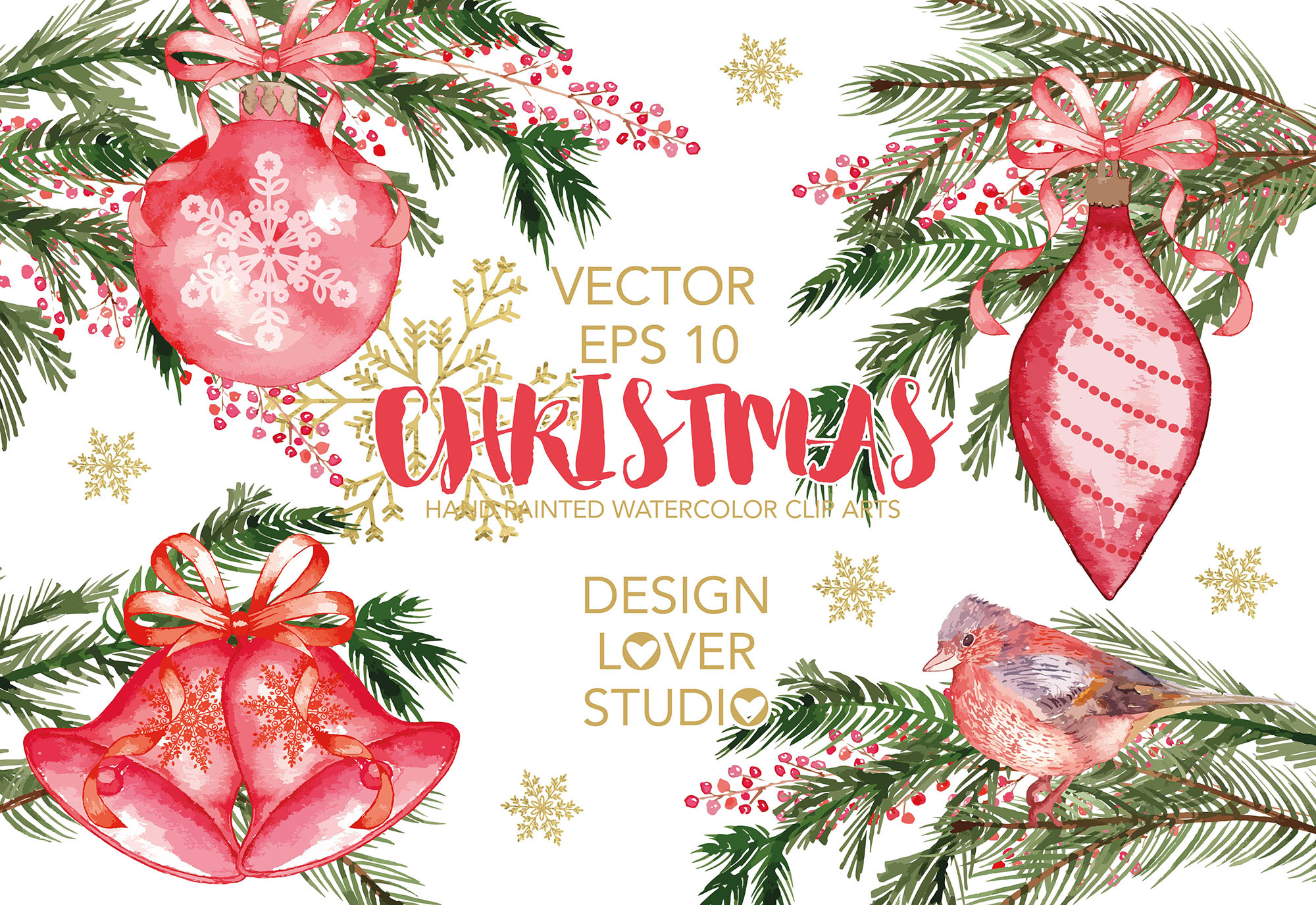 Vector watercolor Christmas cliparts example image 1