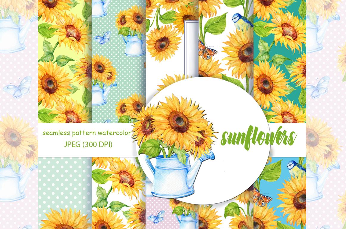 Watercolor digital Paper,Sunflower Pattern , Sunflower Background, Floral Digital Paper,  Sunflower Paper Watercolor paper example image 1