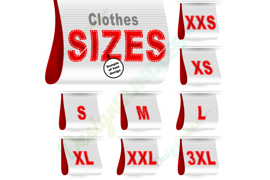 Vector Clothes Size Label Marketing Tag Sticker Sewn Set White Red example image 1