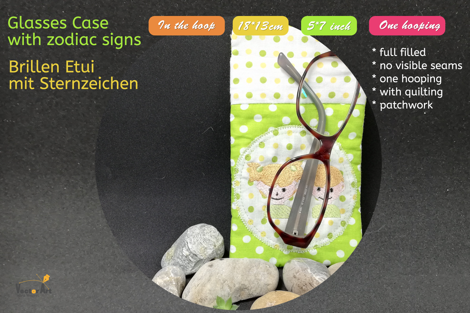 ITH - Glasses Case with Zodiac sign Gemini - Embroidery file example image 5