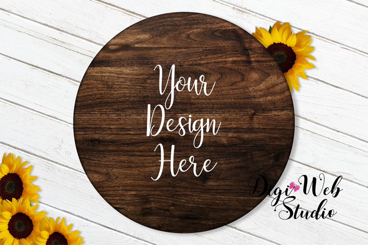 Flat Lay Wood Sign Mockup - Round Wood Sign w/ Sunflowers example image 1