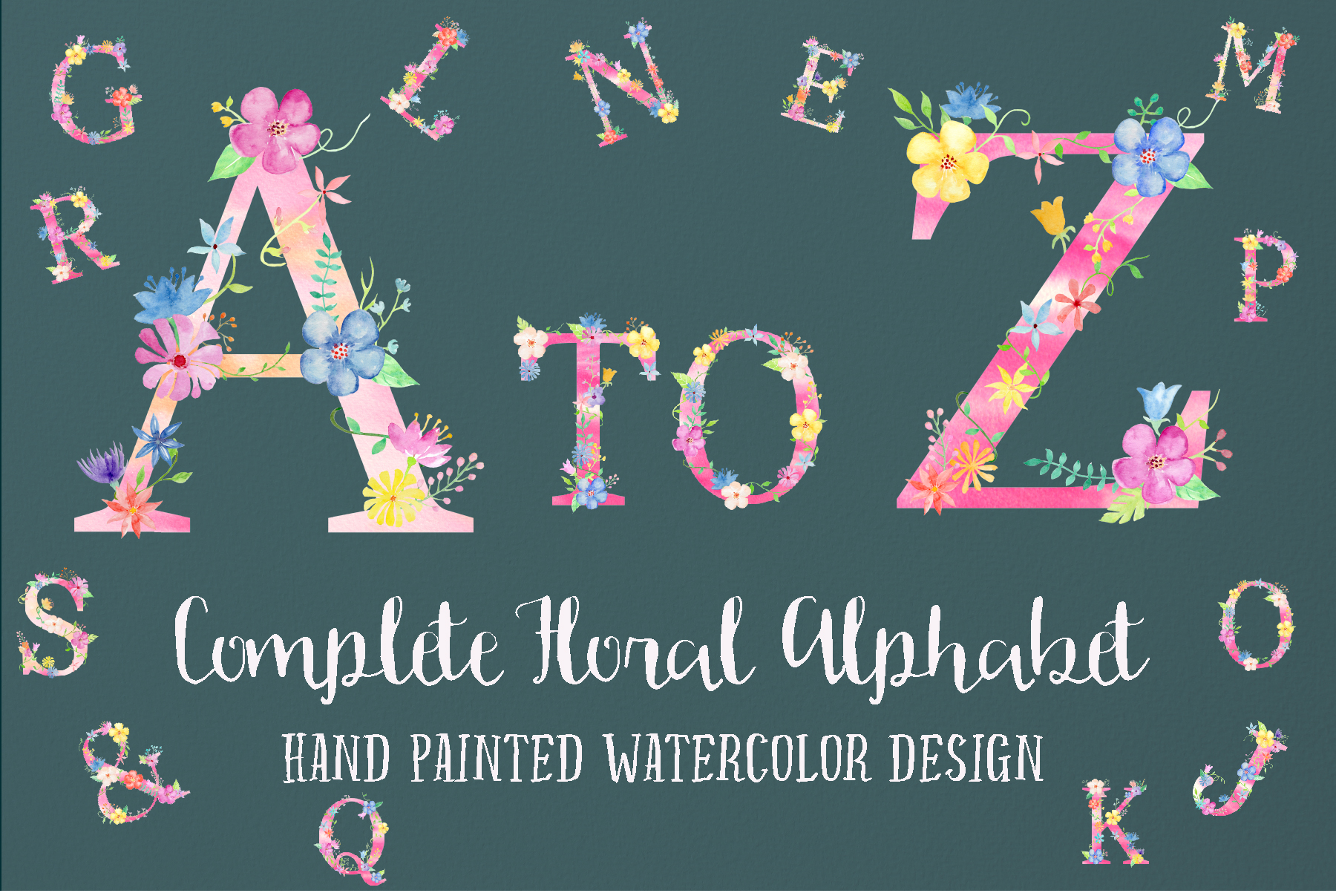 Watercolor floral alphabets, pink floral letters example image 4