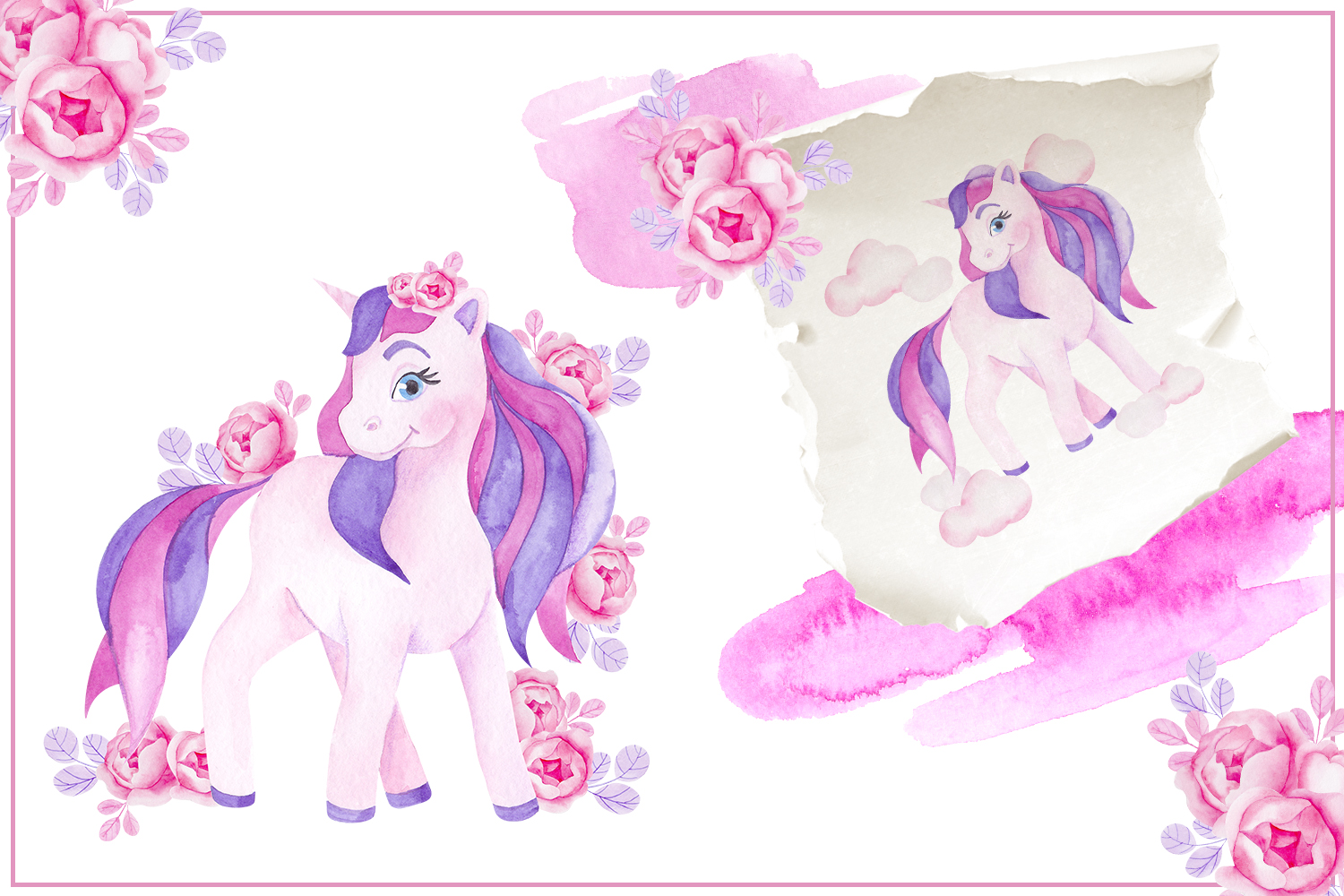 Cute unicorn. Illustrations and alphabet example image 2