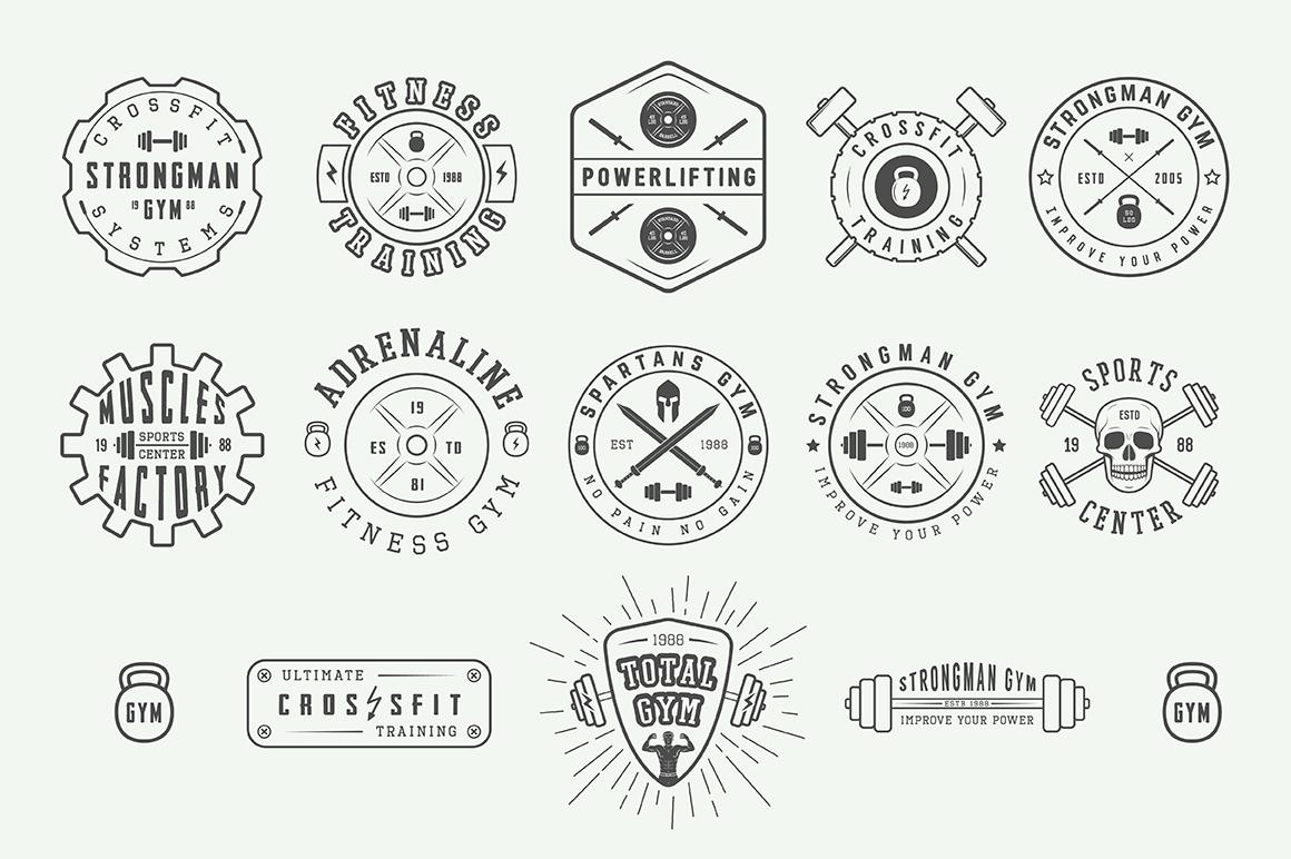 Vintage Gym Emblems Bundle example image 4