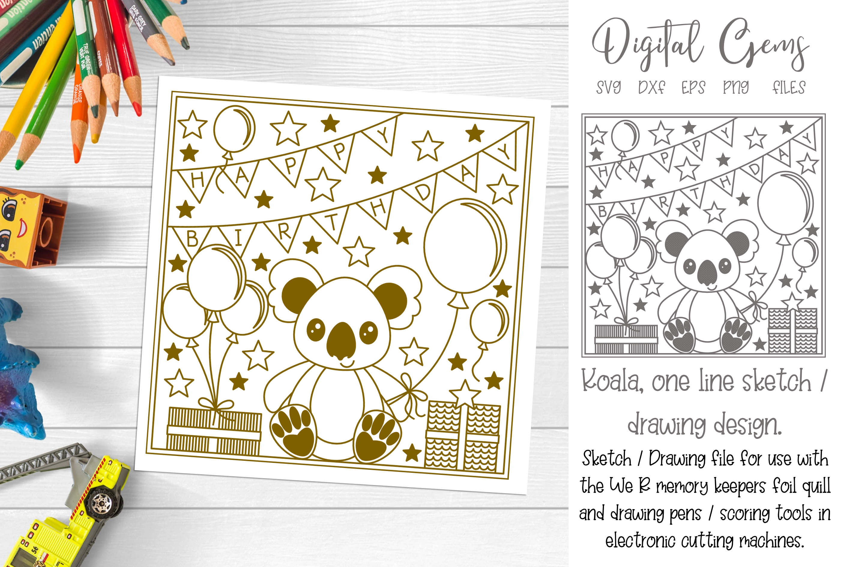 Koala, Birthday single line sketch file. For foil quill example image 1