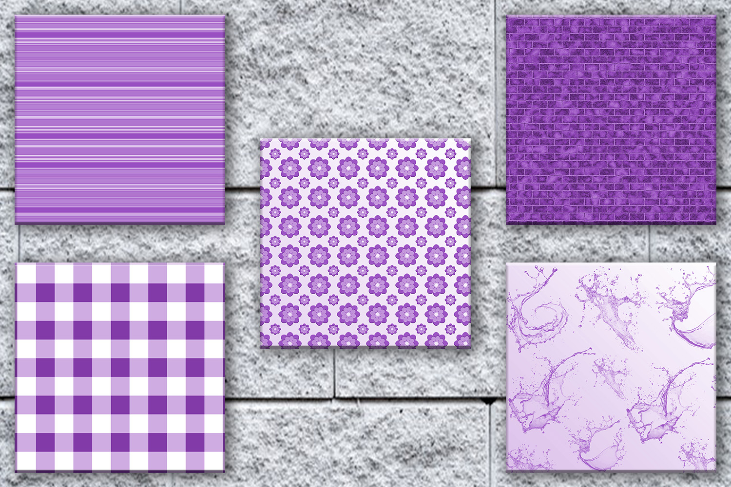 Purple Digital Paper, Purple Paper Flowers, Purple Pack, off example image 3