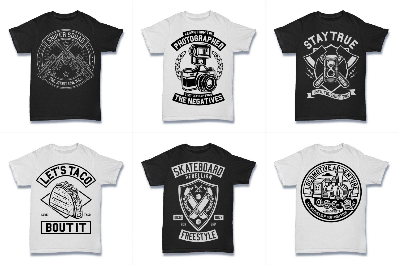 100  Vector Tshirt Designs ( B/W Concept ) example image 10