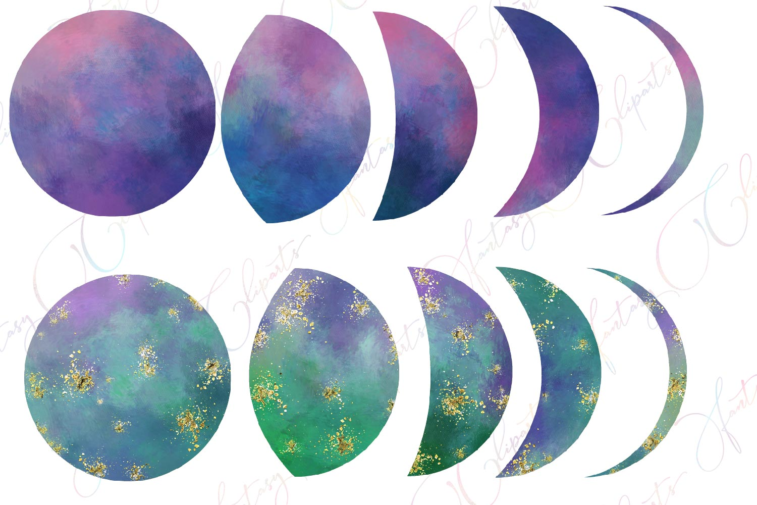 Galaxy Moon Phases Clipart example image 2
