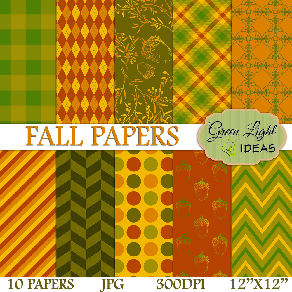 Fall Digital Papers Autumn Backgrounds Thanksgiving Scrapbook Papers 34018 Backgrounds Design Bundles