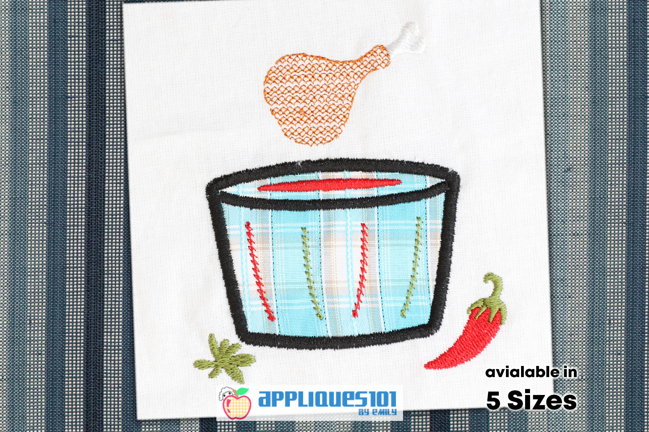 Chicken Leg Machine Embroidery Applique Design - Foods example image 1