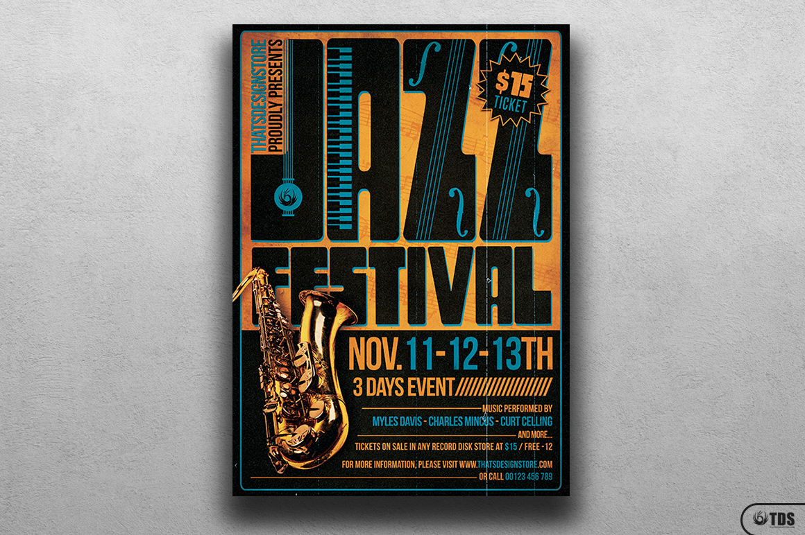Jazz Festival Flyer Template V2 example image 1