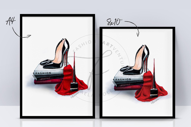Black Heels - Shoe Illustration, Fashion print, Home decor example image 2