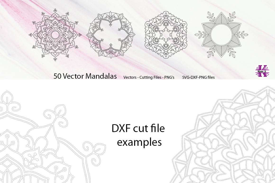 50 Vector Mandalas, Cut Files & PNG's - SVG DXF PNG example image 14